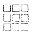 handdrawn square doodle frame collection vector image vector image