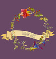 Handpainted watercolor of wreath with ribbon vector image vector image