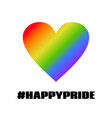 happy pride greeting card with lgbt colors vector image