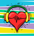 heart with music headphones cartoon concept vector image