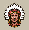 indian chief in headdress feathers warrior vector image vector image