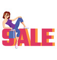 inscription sale pink and orange with cute vector image