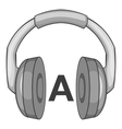 Language learning in headphones icon vector image vector image