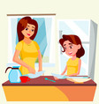 little girl helping mother wash dishes in kitchen vector image vector image