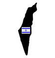 Map of Israel with flag vector image vector image