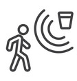 motion detector line icon security and guard vector image