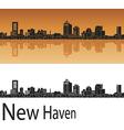 New Haven skyline in orange vector image vector image