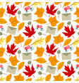 pattern autumn leaves orange yellow brown vector image