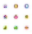 Profit icons set pop-art style vector image vector image