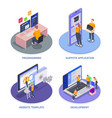 programming coding development isometric icon set vector image