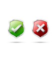 Right accept and wrong symbol protection shiled on vector image
