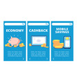 save money mobile app pages banking and savings vector image vector image