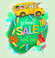 school sale creative banner with bus and kids vector image vector image