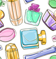Seamless pattern of perfume bottles vector image