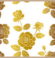 Seamless pattern with roses garden on gold color