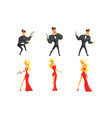 secret agents in different poses handsome man and vector image vector image