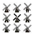 set black and white windmill icons vector image