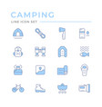 set color line icons camping vector image