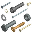 set of fasteners in 3d vector image vector image