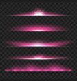 set of purple glowing light effect isolated on vector image vector image