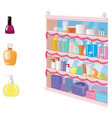 showcase with cosmetics perfume and makeup items vector image vector image