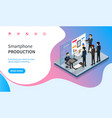 smartphone production line website with info vector image