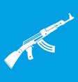 submachine gun icon white vector image vector image