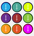 sword icon sign Nine multi colored round buttons vector image vector image