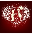 The design of a set hearts in love boy and girl vector image vector image