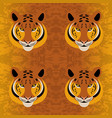 tiger head grunge texture yellow-brown background vector image