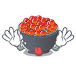 tongue out salmon roe with isolated on mascot vector image