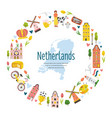 tourist poster card with symbols netherlands vector image vector image