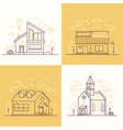 town architecture - set of thin line design style vector image vector image
