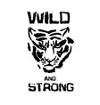 wild and strong tiger head modern ink vector image vector image