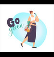 woman character carry products in string eco vector image