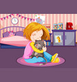 young girl cuddling a kitten vector image