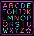 glowing multicolor neon typeface vector image