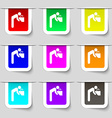 drinking fountain icon sign Set of multicolored vector image
