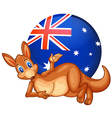 A kangaroo in front of the ball with the vector image