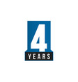 4 years anniversary icon birthday logo vector image vector image