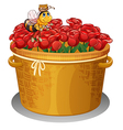 A bee at the basket full of red roses vector image vector image