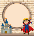 Border design with king and castle vector image vector image