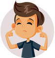 boy covering up his ears hearing a stressful noise vector image