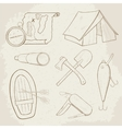 Camping hand drawn icons vector image