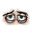 cartoon image of tired eyes vector image vector image