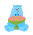 cartoon polar bear with cup flowers vector image vector image