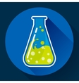 Chemical triangular lab flask with liquid icon vector image