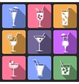 Cocktail flat icons set vector image vector image