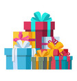 colorful gifts with bows of ribbons vector image vector image