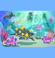 colorful underwater marine landscape template vector image vector image